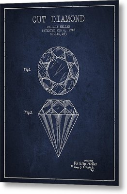 Cut Diamond Patent From 1873 - Navy Blue Metal Print by Aged Pixel