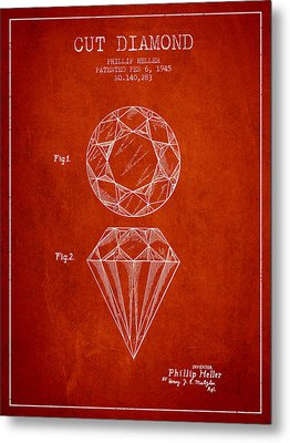 Cut Diamond Patent From 1873 - Red Metal Print by Aged Pixel
