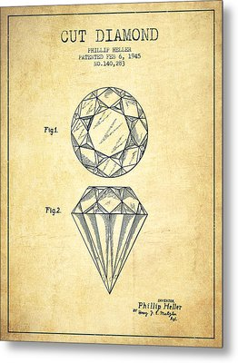 Cut Diamond Patent From 1873 - Vintage Metal Print by Aged Pixel
