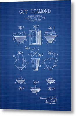 Cut Diamond Patent From 1935 - Blueprint Metal Print by Aged Pixel