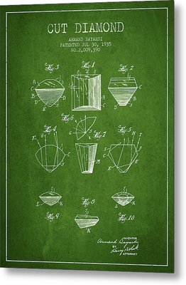 Cut Diamond Patent From 1935 - Green Metal Print by Aged Pixel