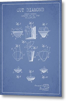 Cut Diamond Patent From 1935 - Light Blue Metal Print by Aged Pixel