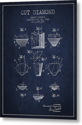 Cut Diamond Patent From 1935 - Navy Blue Metal Print by Aged Pixel