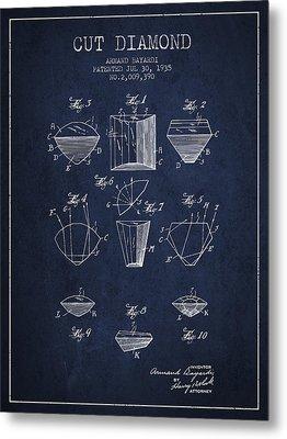 Cut Diamond Patent From 1935 - Navy Blue Metal Print