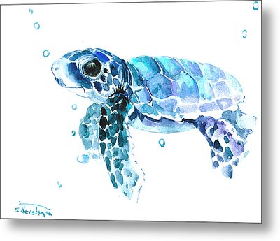 Cute Baby Turtle Metal Print