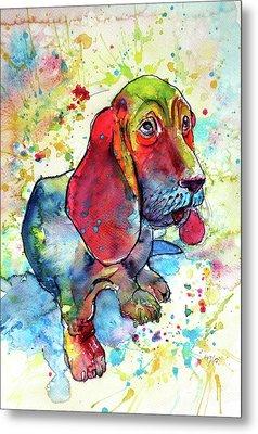 Metal Print featuring the painting Cute Basset Hound by Kovacs Anna Brigitta