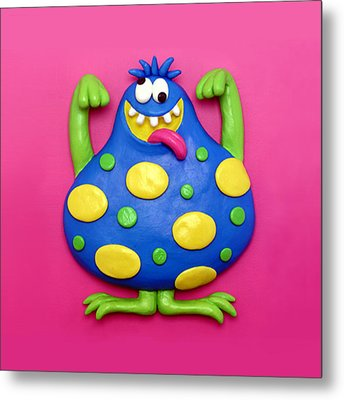 Cute Blue Monster Metal Print by Amy Vangsgard