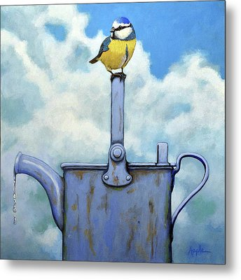 Cute Blue-tit Realistic Bird Portrait On Antique Watering Can Metal Print by Linda Apple