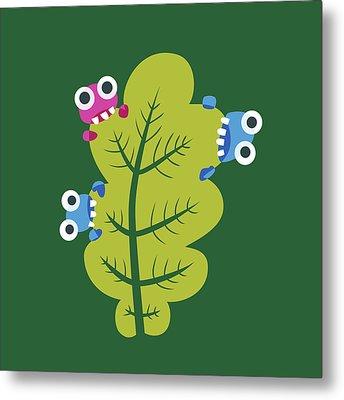 Cute Bugs Eat Green Leaf Metal Print by Boriana Giormova