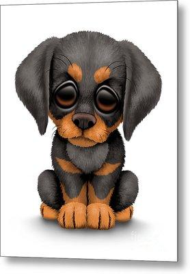 Cute Doberman Puppy Dog Metal Print by Jeff Bartels