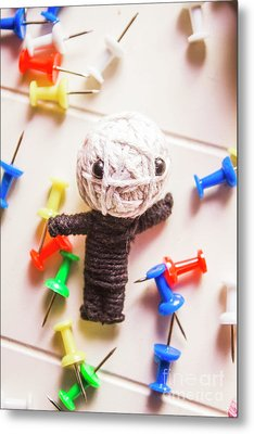 Cute Doll Made From Yarn Surrounded By Pins Metal Print