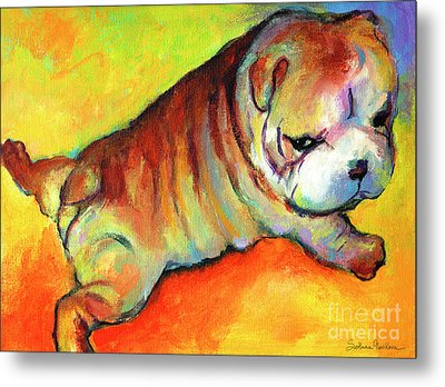 Cute English Bulldog Puppy Dog Painting Metal Print