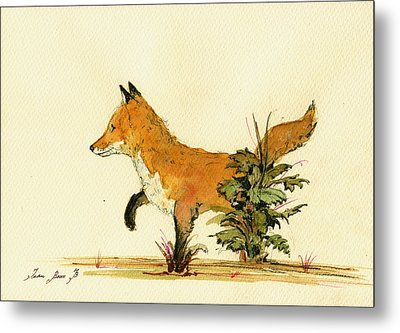 Cute Fox In The Forest Metal Print by Juan  Bosco