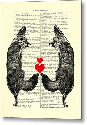 Cute Foxes Metal Print by Madame Memento