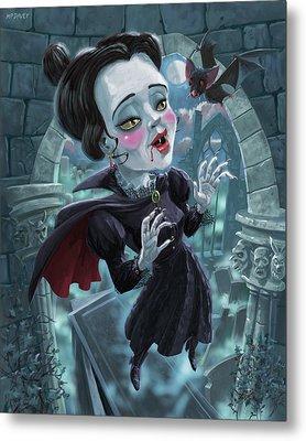 Metal Print featuring the digital art Cute Gothic Horror Vampire Woman by Martin Davey