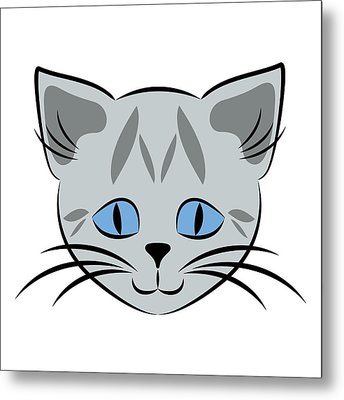 Cute Gray Tabby Cat Face Metal Print by MM Anderson