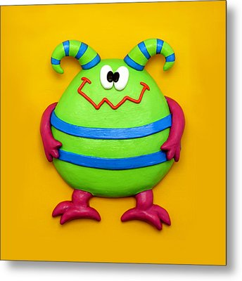 Cute Green Monster Metal Print by Amy Vangsgard