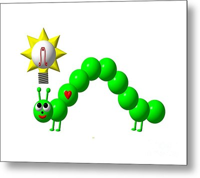 Cute Inchworm With An Idea Metal Print by Rose Santuci-Sofranko
