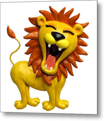 Cute Lion Roaring Metal Print by Amy Vangsgard