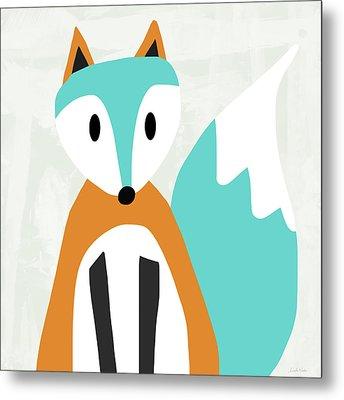 Cute Orange And Blue Fox- Art By Linda Woods Metal Print by Linda Woods