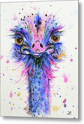 Cute Ostrich Metal Print by Zaira Dzhaubaeva