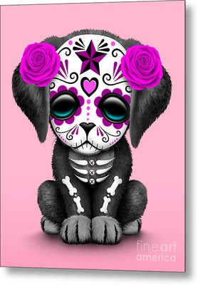 Cute Pink Day Of The Dead Sugar Skull Dog  Metal Print