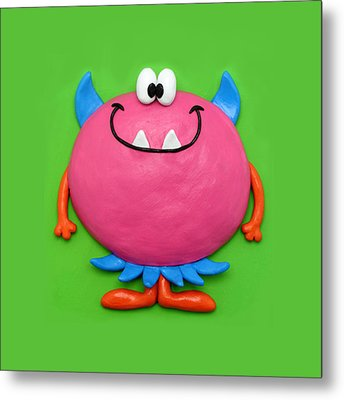 Cute Pink Monster Metal Print by Amy Vangsgard