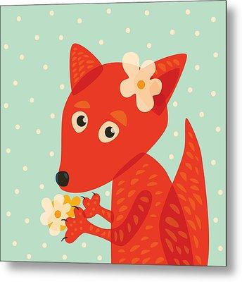 Cute Pretty Fox With Flowers Metal Print