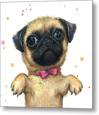 Cute Pug Puppy Metal Print by Olga Shvartsur