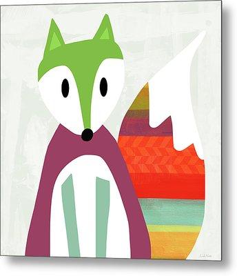 Cute Purple And Green Fox- Art By Linda Woods Metal Print by Linda Woods