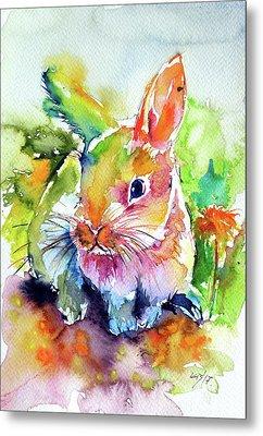 Metal Print featuring the painting Cute Rabbit by Kovacs Anna Brigitta