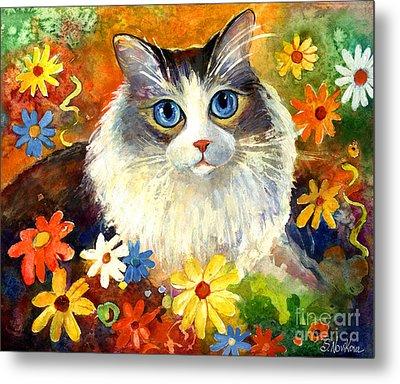 Cute Ragdoll Tubby Cat In Flowers Metal Print by Svetlana Novikova