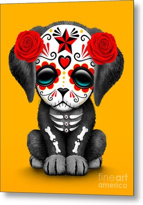 Cute Red Day Of The Dead Sugar Skull Dog  Metal Print