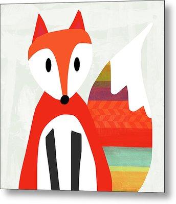 Cute Red Fox 2- Art By Linda Woods Metal Print