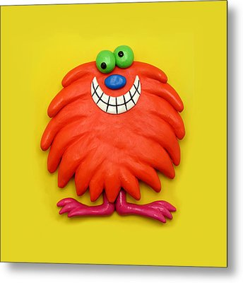 Cute Red Monster Metal Print by Amy Vangsgard