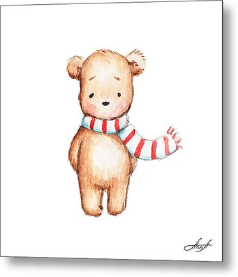 Cute Teddy Bear With Red And White Scarf Metal Print by Anna Abramska