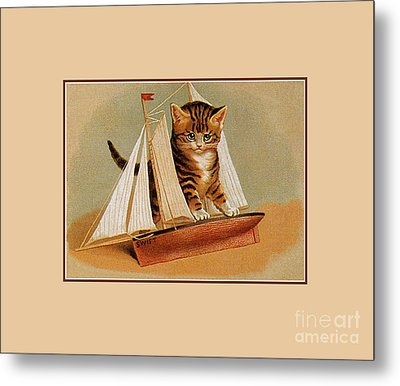 Cute Victorian Kitten, Wooden Toy Ship Metal Print