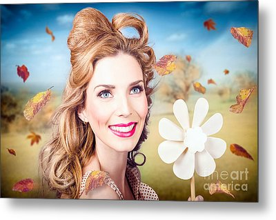 Cute Woman With Magnificent Hair. Beauty In Nature Metal Print