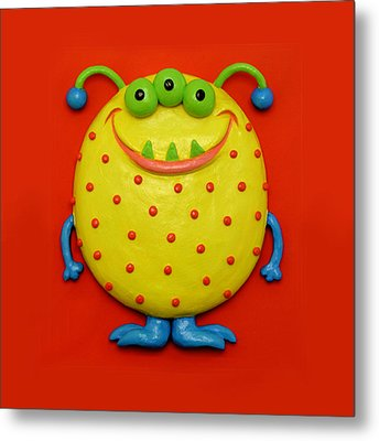 Cute Yellow Monster Metal Print by Amy Vangsgard