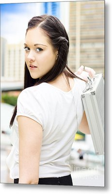 Cute Young Busy Business Woman Carrying Briefcase  Metal Print by Jorgo Photography - Wall Art Gallery