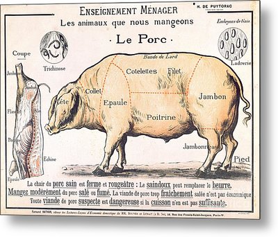 Cuts Of Pork Metal Print by French School