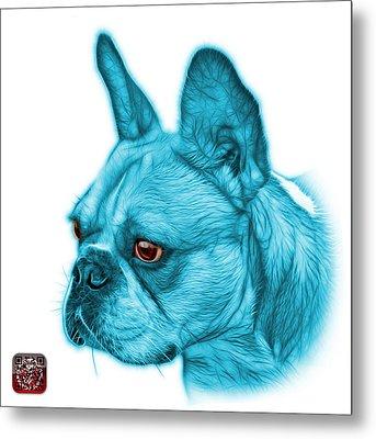 Cyan French Bulldog Pop Art - 0755 Wb Metal Print by James Ahn