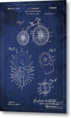 Cycle Driving Mechanism Patent Blueprint Year 1930 Blue Background Metal Print