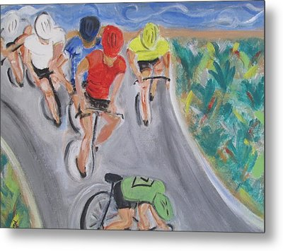 Cycling By The Ocean Metal Print