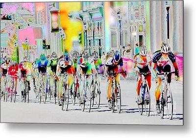 Cycling Down Main Street Usa Metal Print by Vicki Pelham