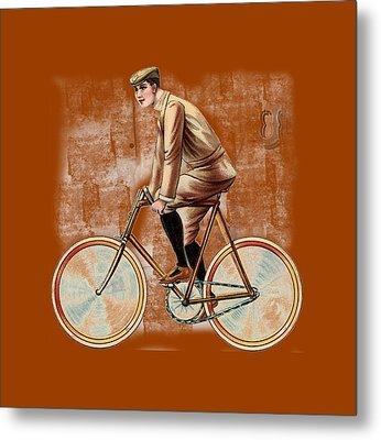 Cycling Man T Shirt Design Metal Print by Bellesouth Studio