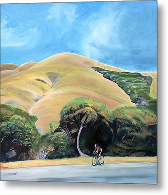 Cyclist By Elephant Mountain Metal Print by Colleen Proppe