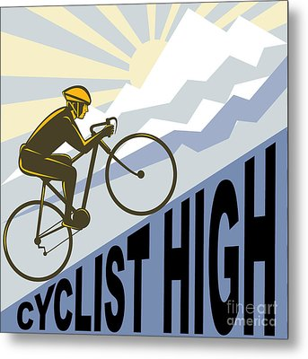 Cyclist Racing Bike Metal Print by Aloysius Patrimonio