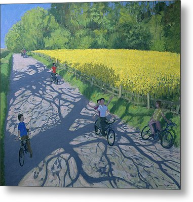 Cyclists And Yellow Field Metal Print
