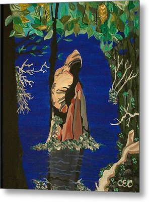 Metal Print featuring the painting Cypress Knee by Carolyn Cable